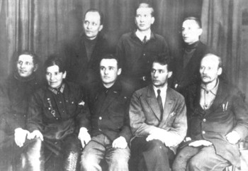 Группа организаторов ГИРД во главе с С.П. Королевым и Ф.А. Цандером, автором конструкций ряда опытных двигателей для ракет